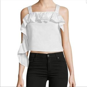 Walter Baker White Ruffled Crop Tank Top.